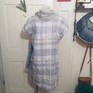 Eileen Fisher Linen Dress -M gray /cream ,linen